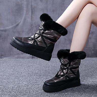 voordelige Dameslaarzen-Dames Laarzen Sleehak Ronde Teen Veer Konijnenbont Kuitlaarzen Zoet / minimalisme Herfst winter Zwart / Lichtblauw / Lichtbruin