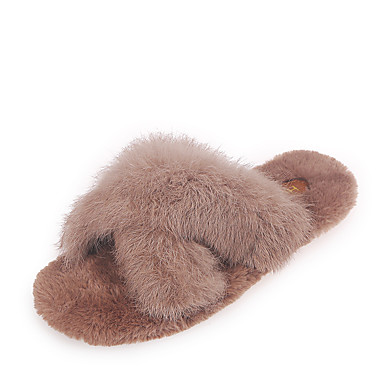 voordelige Damespantoffels & slippers-Dames Slippers & Flip-Flops Platte hak Open teen Konijnenbont Lente & Herfst Zwart / Groen / Beige