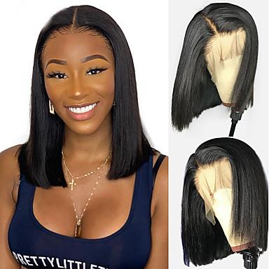 hesapli Peruklar ve Saç Postijleri-Gerçek Saç 4x13 Kapanış Peruk Bob Saç Kesimi Kısa Bob Derin ayrılık stil Düz Brezilya Saçı Doğal düz Doğal Peruk % 130 Saç yoğunluğu Bebek Saçlı Doğal saç çizgisi Afrp Amerikan Peruk Siyahi Kadınlar