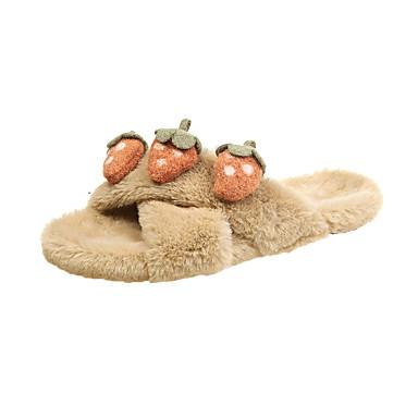 voordelige Damespantoffels & slippers-Dames Slippers & Flip-Flops Platte hak Open teen Imitatiebont Herfst winter Zwart / Groen / Khaki