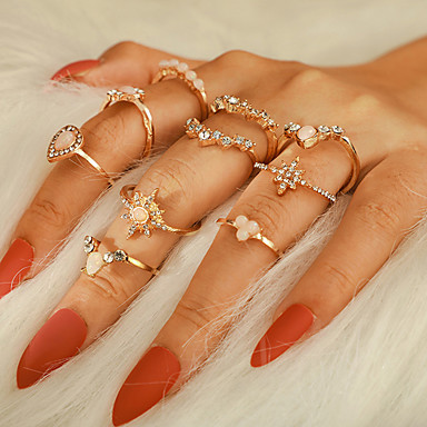 billige Motering-Dame Ring Ring Set 10pcs Gull Strass Legering Annerledes Luksus Klassisk trendy Fest Gave Smykker Vintage Stil Stjerne Krone Pære