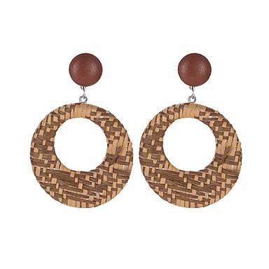 voordelige Dames Sieraden-Dames Oorbel meetkundig donuts Hout oorbellen Sieraden Zwart / Bruin / Lichtblauw Voor Feestdagen 1 paar