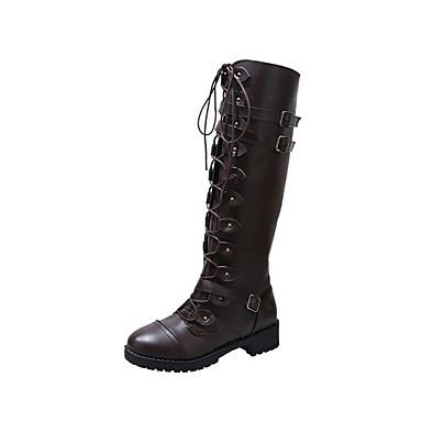 voordelige Dameslaarzen-Dames Laarzen Lage hak Ronde Teen PU Kuitlaarzen Herfst winter Zwart / Geel / Koffie