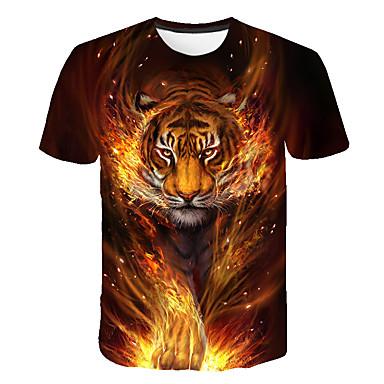 cheap Boys'Tees & Blouses-Kids Boys' T shirt Short Sleeve Tiger Animal Pattern Print Navy Blue Children Tops Summer Streetwear Cool 3-12 Years