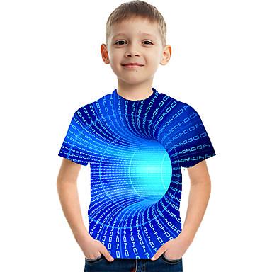 cheap Boys'Tees & Blouses-Kids Boys' T shirt Tee Short Sleeve 3D Print Graphic Optical Illusion Color Block Crewneck Unisex Light Yellow Lake blue Navy Children Tops Basic Streetwear Funny Summer 3-12 Years / Sports
