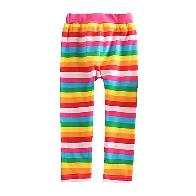 cheap Girls' Pants & Leggings-Kids Toddler Girls' Leggings Children's Day Rainbow Red Lace up Rainbow Striped Cotton Basic Tights