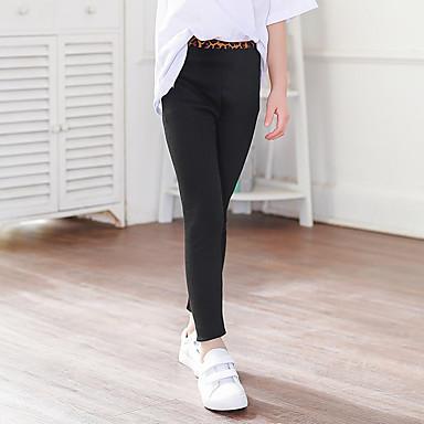 cheap Girls' Pants & Leggings-Kids Girls' Leggings Light gray Black Dark Gray Solid Colored Cotton Basic Tights