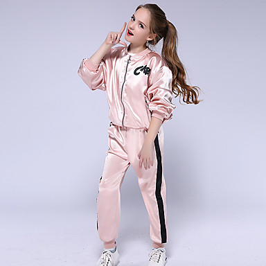 cheap Girls' Clothing Sets-Kids Girls' Clothing Set Long Sleeve Blushing Pink Solid Colored Active Streetwear