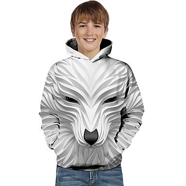 cheap Boys'Tees & Blouses-Kids Toddler Boys' Hoodie & Sweatshirt Long Sleeve Wolf 3D Printed Striped Geometric Animal Fashion White Black Children Tops Active Basic Easter