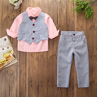 cheap Boys' Clothing Sets-Kids Toddler Boys' Suit Vest Clothing Set Long Sleeve 4 Pieces Blushing Pink Tie Knot Striped Solid Colored School Formal Prom Cotton Regular Basic 2-6 Years
