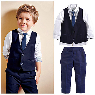 cheap Boys' Clothing Sets-Kids Toddler Boys' Suit Vest Shirt & Pants Clothing Set Long Sleeve 4pcs Navy Blue Beaded Tie Knot Solid Colored Formal Regular Active Basic 2-6 Years / Summer