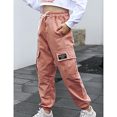 cheap Girls' Pants & Leggings-Kid's Teen Girls' Pants Back to School Pink khaki Black Drawstring Solid Color School Daily Sports Cotton Active Cargo / Fall / Winter / Spring / Summer