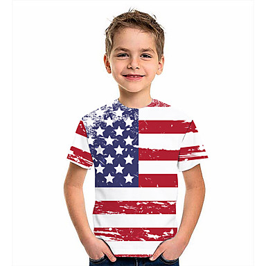 cheap Boys' Clothing Sets-Kids Boys' T shirt Short Sleeve American flag 3D Print Graphic Flag Print White Children Tops Summer Active Daily Wear Regular Fit 4-12 Years