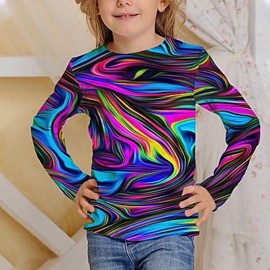 cheap Boys'Tees & Blouses-Kids Boys' Girls' T shirt Long Sleeve Rainbow Black 3D Print Print Graphic Daily Wear Active 4-12 Years