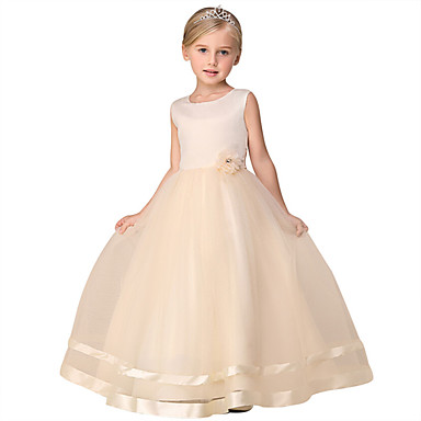 cheap Girls' Dresses-Kids Little Girls' Dress Solid Colored Flower Tulle Dress Daily Layered Lace Purple Blushing Pink White Sleeveless Basic Dresses 3-12 Years
