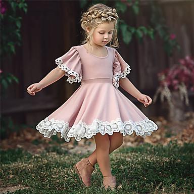 cheap Girls' Dresses-Kid's Little Girls' Dress Solid Color Flower School Lace Puff Sleeve Purple Blushing Pink Green Cotton Short Sleeve Cute Sweet Dresses Summer 2-12 Years