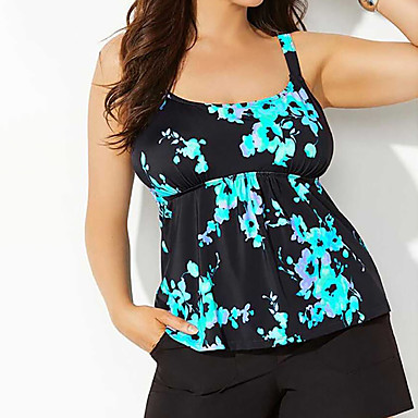 cheap New Arrivals-Women's Tankini 2 Piece Swimsuit Floral Black Swimwear Strap Bathing Suits Casual Sexy New / Padded Bras / Beach