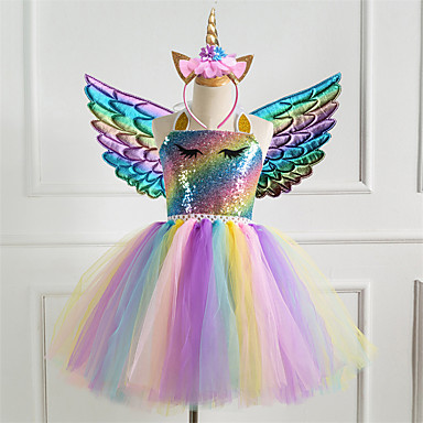 cheap Girls' Dresses-Kids Little Girls' Dress Rainbow Colorful Unicorn Party Tutu Dresses Photography Sequins Halter Purple Silver Gold Tulle Princess Cute Dresses Three Piece 2-8 Years