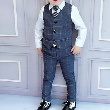 cheap Boys' Clothing Sets-Kids Boys' Suit & Blazer Suit Vest Clothing Set Children's Day Long Sleeve 3 Pieces Blue Wine Dark Gray Plaid Party Wedding School Regular Outfits Tuxedo Formal 3-8 Years