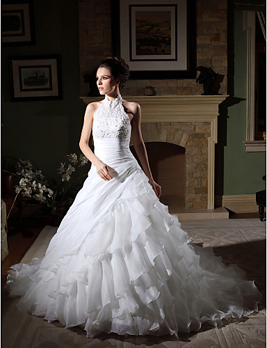 Ball Gown Halter Chapel Train Organza Beaded Lace Custom Wedding Dresses with Beading Appliques Tiered Side-Draped by LAN TING BRIDE®