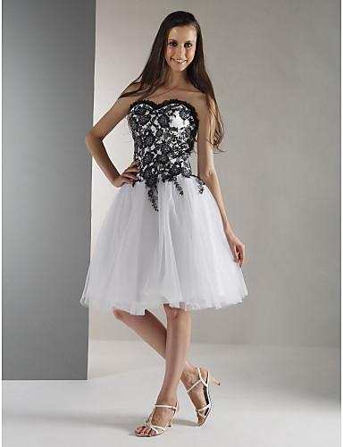 De Baile Sem Alças Até os Joelhos Lace Over Tulle Coquetel / Reunião de Classe Vestido com Miçangas de TS Couture®