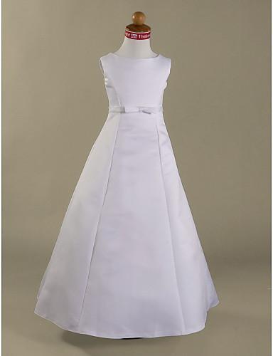 Γραμμή Α / Πριγκίπισσα Μακρύ Φόρεμα για Κοριτσάκι Λουλουδιών - Σατέν Αμάνικο Με Κόσμημα με Φιόγκος(οι) / Ζώνη / Κορδέλα με LAN TING BRIDE® / Άνοιξη / Καλοκαίρι / Φθινόπωρο / Χειμώνας / Πρώτη Κοινωνία