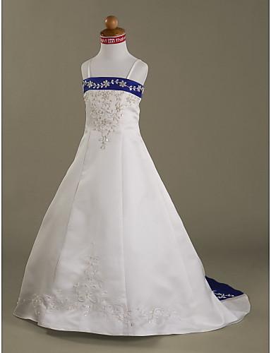 A-Linie Princess Velmi dlouhá vlečka Šaty pro květinovou družičku - Satén Bez rukávů Špagetová ramínka s Korálky Aplikace podle LAN TING