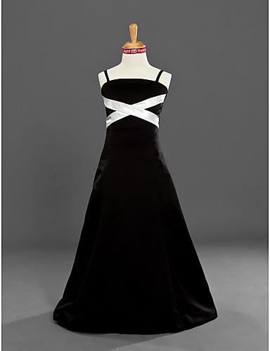 A-Linie Princess Špagetová ramínka Na zem Satén Šaty pro malou družičku s Šerpa / Stuha podle LAN TING BRIDE®