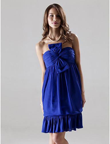 Sheath / Column Strapless Knee Length Chiffon Stretch Satin Bridesmaid Dress with Bow(s) Ruching by LAN TING BRIDE®