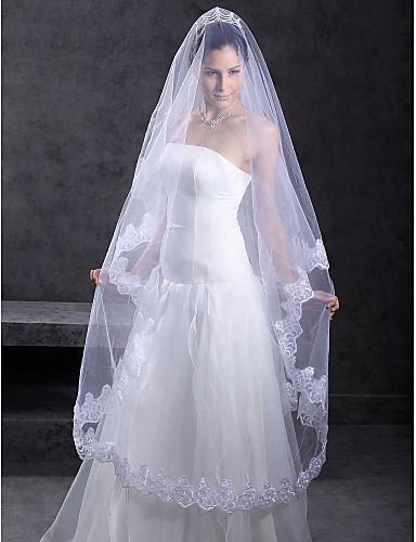 Wedding Veil One-tier Chapel Veils Lace Applique Edge 118.11 in (300cm) Tulle White IvoryA-line, Ball Gown, Princess, Sheath/ Column,