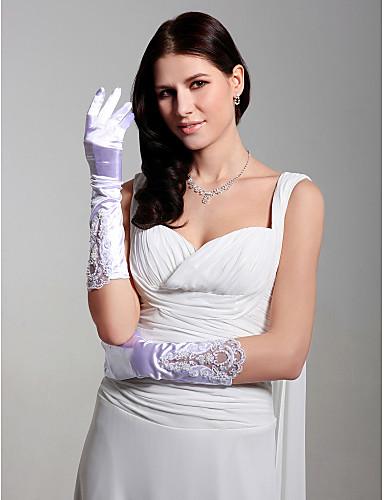 Satin Fingertips Elbow Length Bridal Gloves