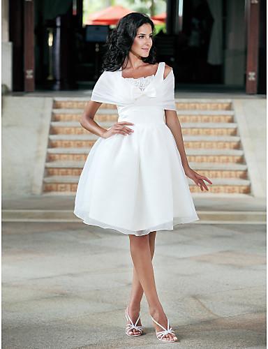 De Baile Decote Quadrado Até os Joelhos Organza Tafetá Vestidos de noiva personalizados com Laço Renda de LAN TING BRIDE®