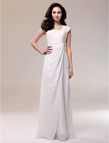 Formal Evening/Military Ball Dress - Ivory Plus Sizes Sheath/Column Square Floor-length Chiffon