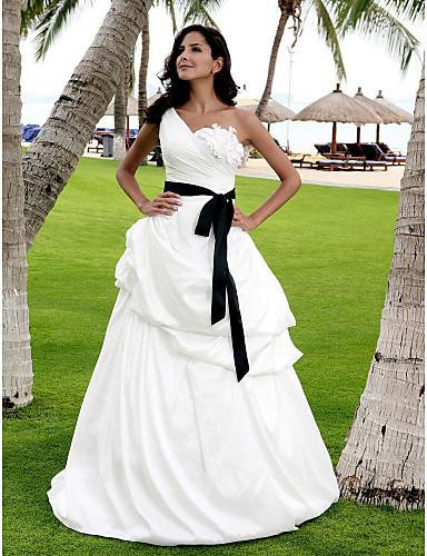 Trapèze Princesse Une Epaule Longueur Sol Satin Taffetas Robes de mariée personnalisées avec Jupe Ceinture / Ruban Fleur par LAN TING