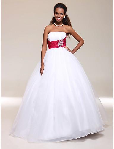 Linia -A Haine Bal Fără Bretele Lungime Podea Tulle Bal Seară Formală Bal Militar Rochie cu Mărgele Detalii Cristal Pliuri de TS Couture®