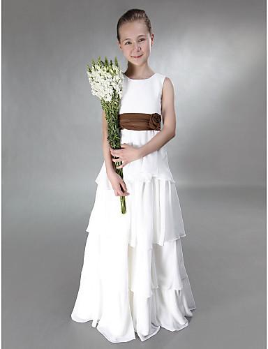 Γραμμή Α / Πριγκίπισσα Με Κόσμημα Μακρύ Σιφόν / Σατέν Φόρεμα Νεαρών Παρανύμφων με Φιόγκος(οι) / Ζώνη / Κορδέλα / Λουλούδι με LAN TING BRIDE® / Γραμμή Empire / Άνοιξη / Καλοκαίρι / Φθινόπωρο