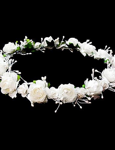 abordables Demoiselles d'Honneur-coiffes mariage fille fleur couronne avec de belles fleurs