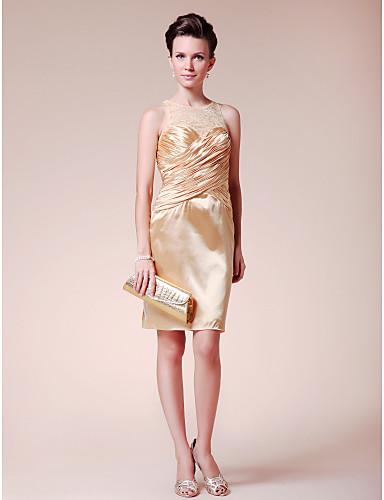 61b2fd321a16 clearance! mantel / kolumn juvel kort / mini elastisk vävd satin spets bröllopsfest  klänning