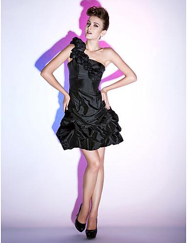 공주 원 숄더 숏 / 미니 태피터 칵테일 파티 / 홈 커밍 / 홀리데이 드레스 와 픽 업 스커트 꽃패턴 주름장식 으로 TS Couture®