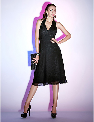 A-Line Halter Neck Tea Length Chiffon Little Black Dress Cocktail Party Dress with Ruched by TS Couture®