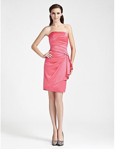 מעטפת \ עמוד סטרפלס באורך  הברך סאטן שמלה לשושבינה  עם בד נשפך בצד על ידי LAN TING BRIDE®