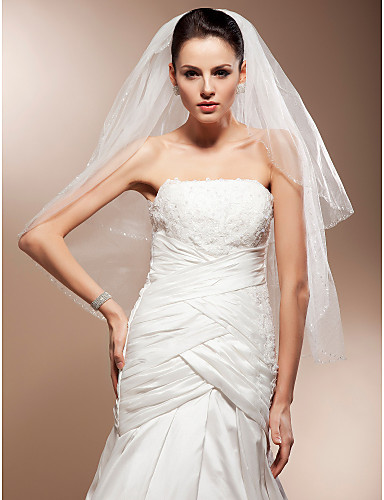 Two-tier Elbow Wedding Veils With Cut Edge