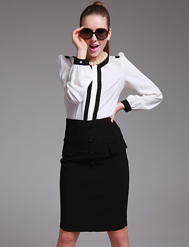 ts met hoge taille-knop embellisehed stretchy rok
