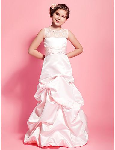 A-Şekilli / Prenses Scoop Boyun Yere Kadar Dantelalar / Saten Dantel / Toplama Etekler / Kurdeleler ile Çocuk Nedime Elbisesi tarafından LAN TING BRIDE® / Bahar / Sonbahar / Kış / Düğün Partisi