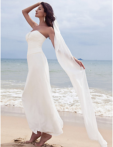 56bbad1566 ... Neckline Ankle Length Chiffon Made-To-Measure Wedding Dresses with  Beading / Ruched by LAN TING BRIDE® / Beach / Destination / Little White  Dress