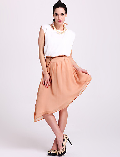 ts asymétrique réduit jupe en mousseline de soie avec ourlet ceinture (plus de couleurs)