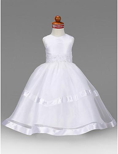 A-Şekilli Prenses Taşlı Yaka Yere Kadar Organze Tafta Boncuklama Aplik Drape ile Çiçekçi Kız Elbisesi tarafından LAN TING BRIDE®