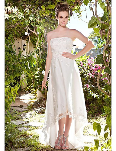 Sheath / Column Strapless Asymmetrical Tulle Made-To-Measure Wedding Dresses with Beading / Appliques / Button by LAN TING BRIDE® / Little White Dress