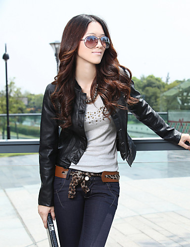 Standing Collar Long Sleeve Artificial Leather Evening/Office Jacket With Buttons/Pockets