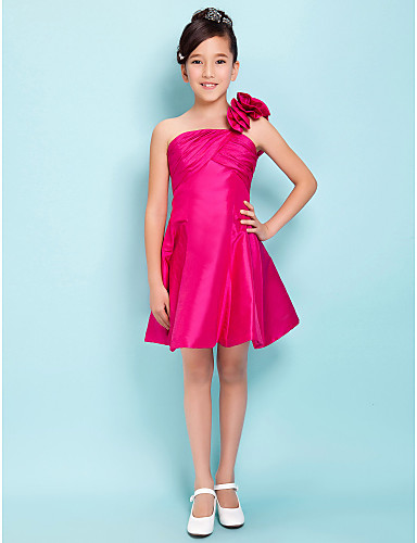 A-Linie Prinzessin Ein-Schulter Knie-Länge Taft Junior-Brautjungferkleid mit Blume Überkreuzte Rüschen durch LAN TING BRIDE®